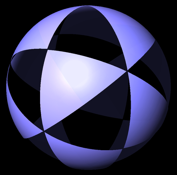 This    diagram    is telling us to draw a bunch of triangles on a sphere  like this